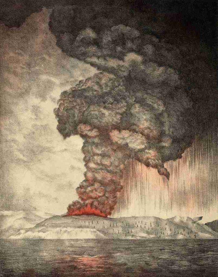Rappresentazione dell'eruzione del vulcano Krakatoa nel 1883